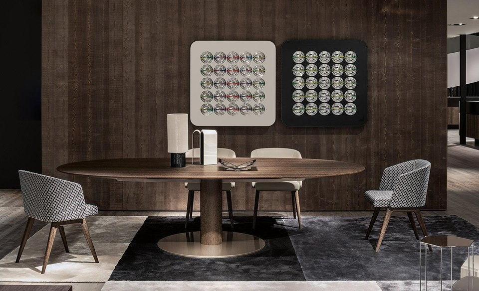 THE COLLECTION OF BELLAGIO TABLES FEATURES AN EVERGREEN DESIGN AND INTRODUCES AN ELEGANT DINING TABLE, AVAILABLE IN EITHER THE